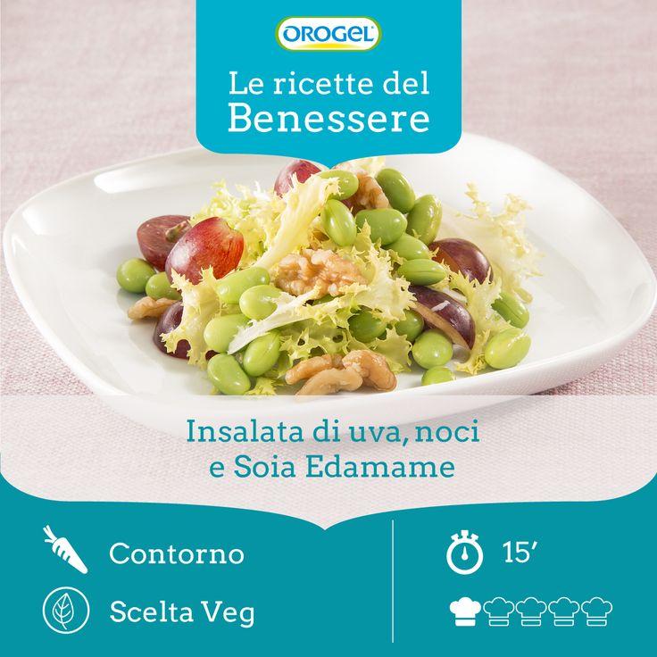 INSALATA DI NOCI, UVA E SOIA EDAMAME: un piatto fresco e ricco di proprietà nutritive importanti, come le proteine della soia #edamame!