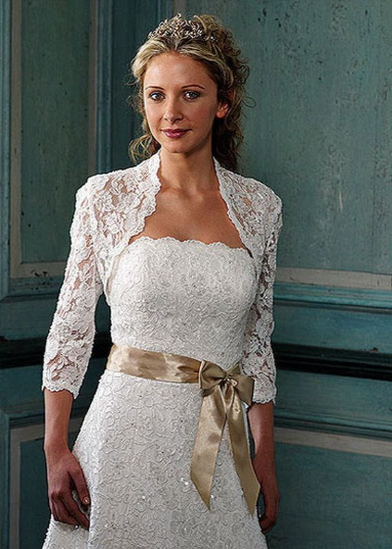 I love this idea. I would like the lace to be darker, like a tea stain color, antique lace, with soft coral ribbon.Mature and older bride dresses...