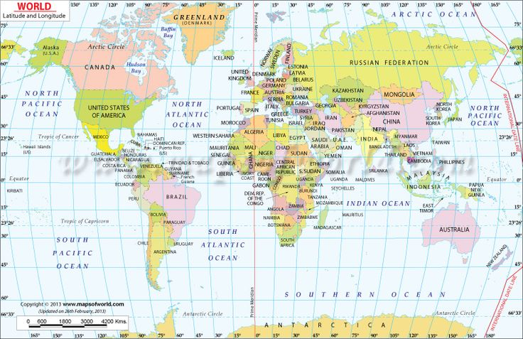 World Map with Latitude and Longitude--buy, get from AAA and have guest sign in and travel tips