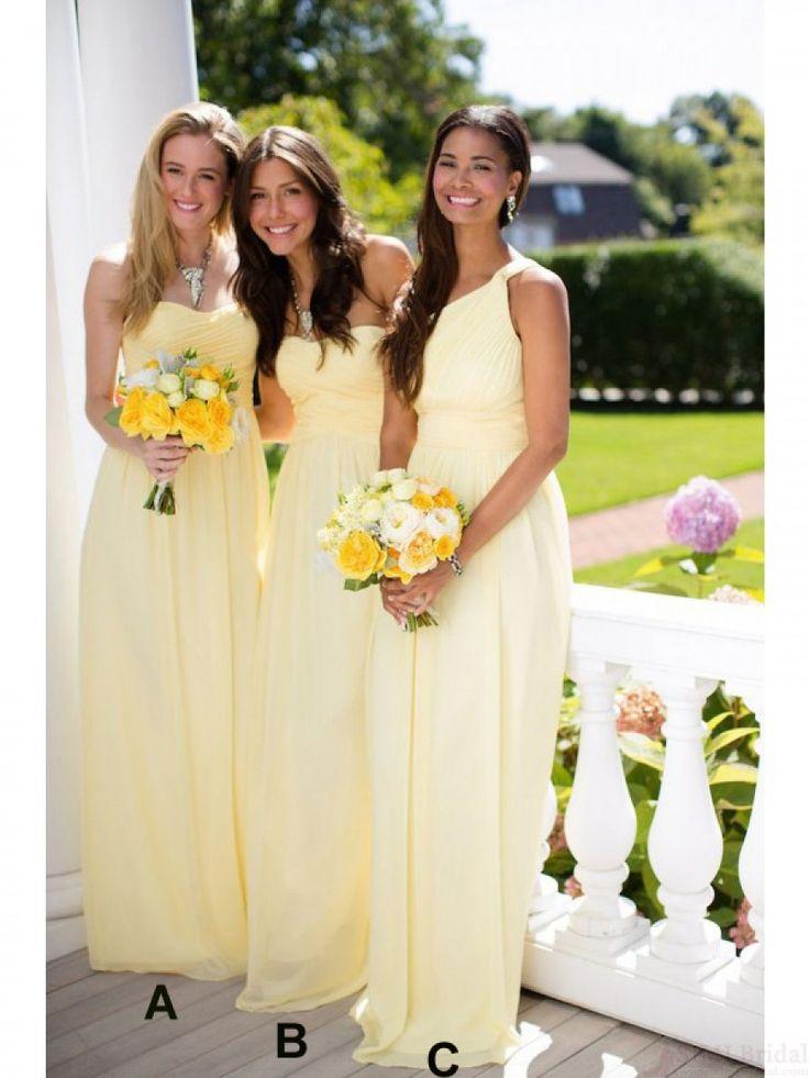 Long Yellow Chiffon Wedding Guest Dresses Bridesmaid Dresses 99601121