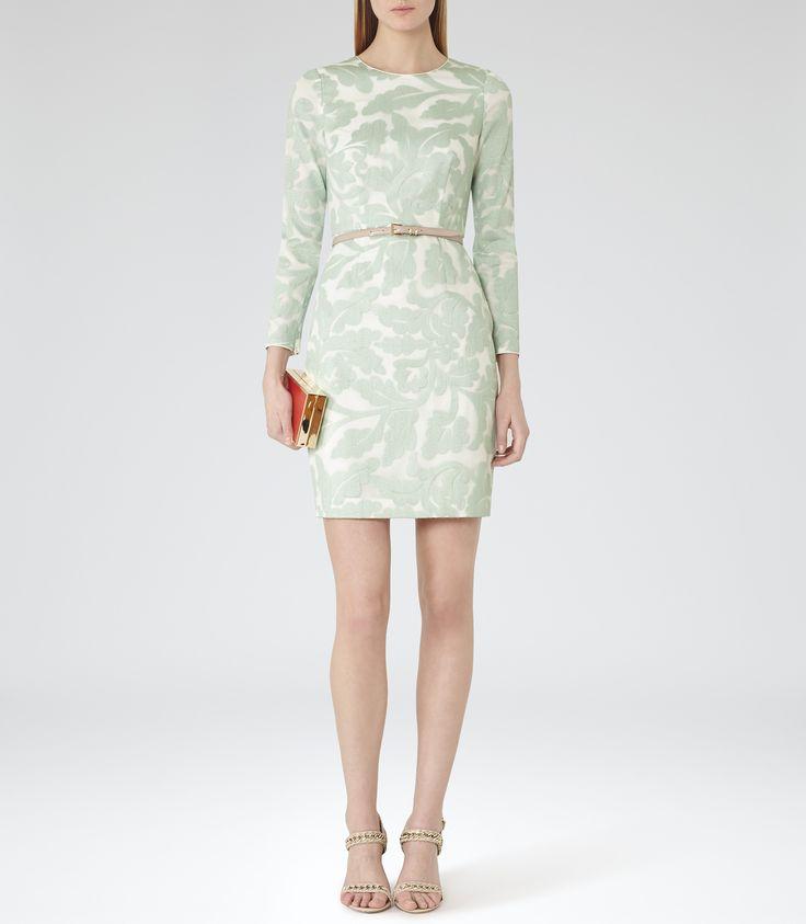 Womens Pavillion Grey Jacquard-detail Dress - Reiss Bay