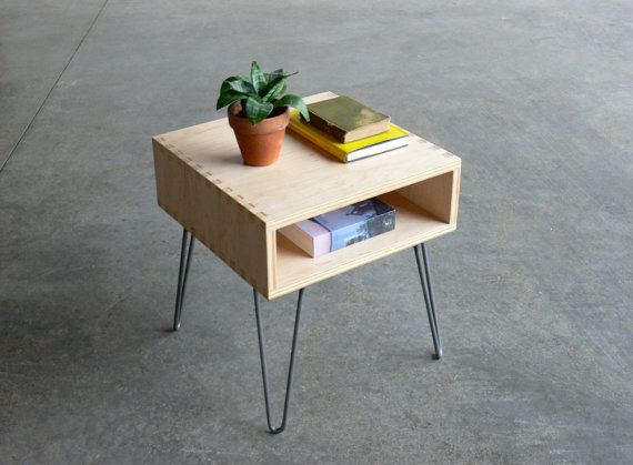 $299 Mid Century Modern Inspired Baltic Birch Plywood Side Table w/ Hairpin Legs