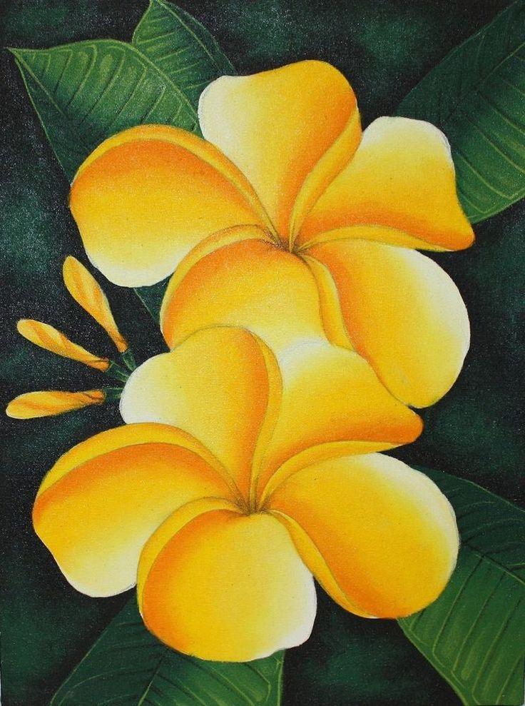 FRANGIPANI GEMÄLDE BALI Leinwand Blüten Frangipanibild grün gelb Baligemälde   in Antiquitäten & Kunst, Internationale Antiq. & Kunst, Asiatika: Südostasien | eBay!