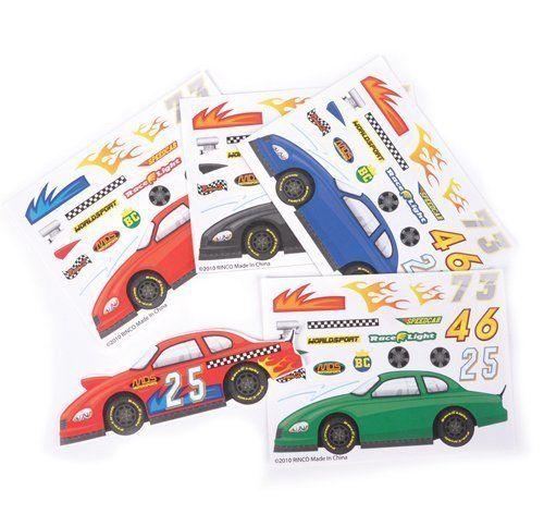 ~ 12 ~ Make-a-Race Car Sticker Sheets ~ New Rhode Island Novelty http://www.amazon.com/dp/B005F722RW/ref=cm_sw_r_pi_dp_Mjeywb17VE58B