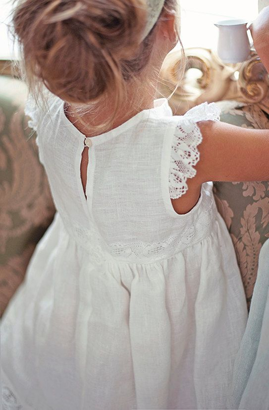 Flower girl robe blanche fille de fleur filles dentelle par Sfoshop