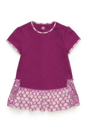 J. Khaki Girls' Mix Print Babydoll Top Toddler Girls - Orchid Tea - 2T