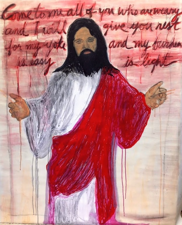 """Acrylic, water color, charcoal and oil pen on 40"""" X 58"""" canvas - """" Matthew 11:30 """""""