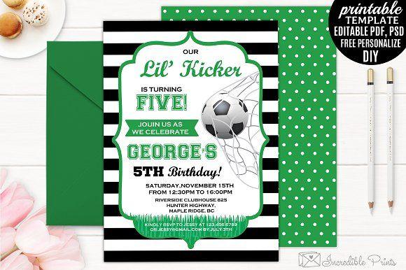 Boy Kicker Birthday Invitation by Incredible Prints on @creativemarket