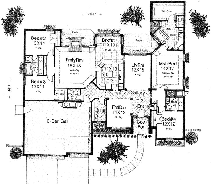 open one story house plans traditional style house plans 2547 square foot home french country