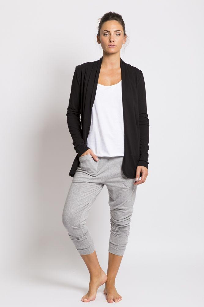 Organic cotton cardigan in black | hardtofind.