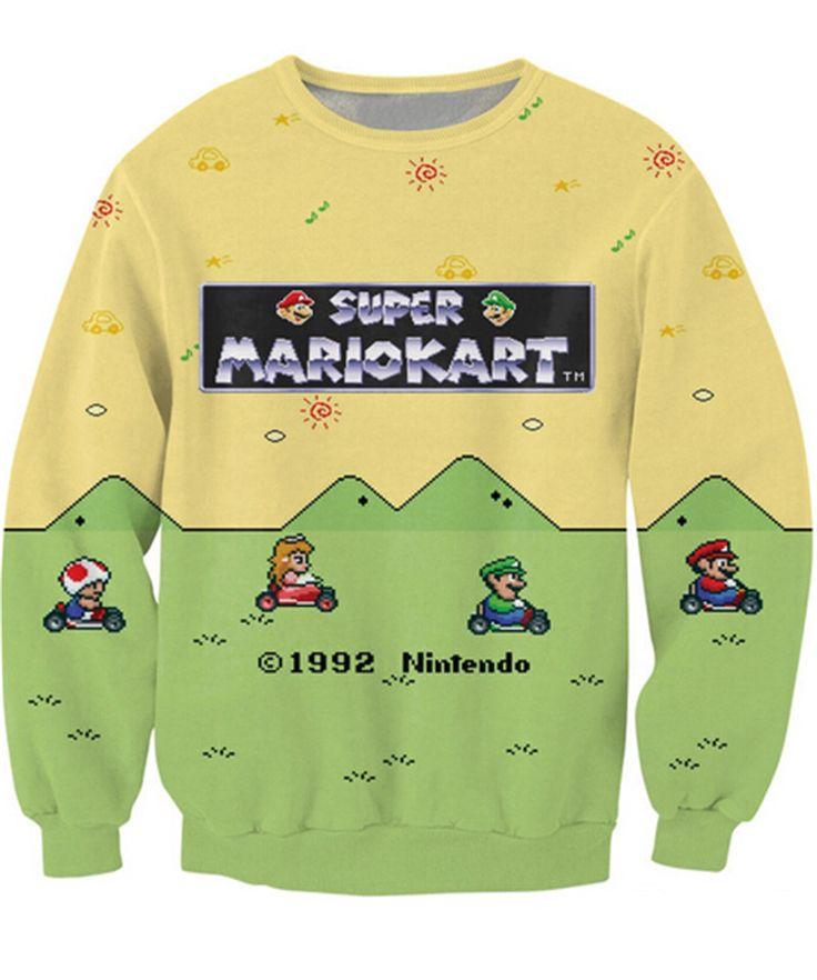 New Women / Men Cartoon 3D Print Letters Super Mario Kart Sweatshirt //Price: $27.45 & FREE Shipping //     #3dwear
