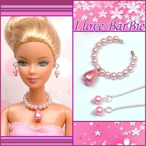 handmade barbie doll swarovski jewelry set necklace earrings for barbie dolls