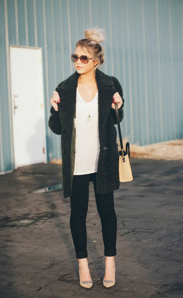 Cara Loren in a Top Shop jacket, Kate Spade heels and Ralph Lauren hoop earrings - all from Nordstrom Rack.