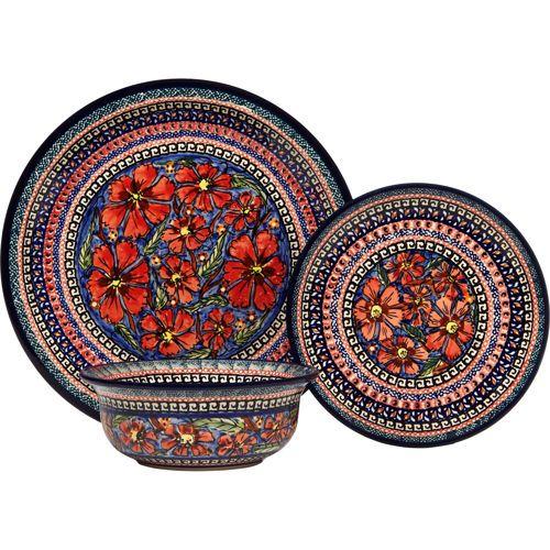 Stoneware Dinnerware Sets for 8   Pottery Avenue Cherished Friends 3-piece Dinnerware Set