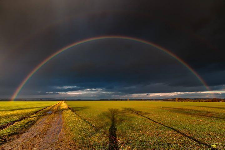 Regenbogen zwischen Veckenstedt und Schmatzfeld  Mein erstes Bild 2018 und gleich ein Regenbogen bzw. bei genaueren Hinsehen zwei Regenbögen. Na wenn das mal kein Zeichen ist!?  @Bild darf gerne geteilt werden  #Regenbogen #Regen #Wolken #Nordharz #Veckenstedt #Schmatzfeld #Harz #Landscape #Nature #Schlechtwetter #Wetter #Canon