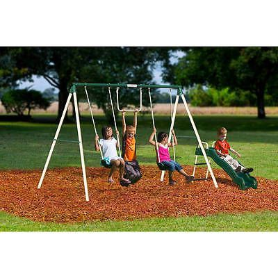 Outside-Children-Fun-Play-Slide-Metal-Swing-Set-Outdoor-Kids-Playground-Games