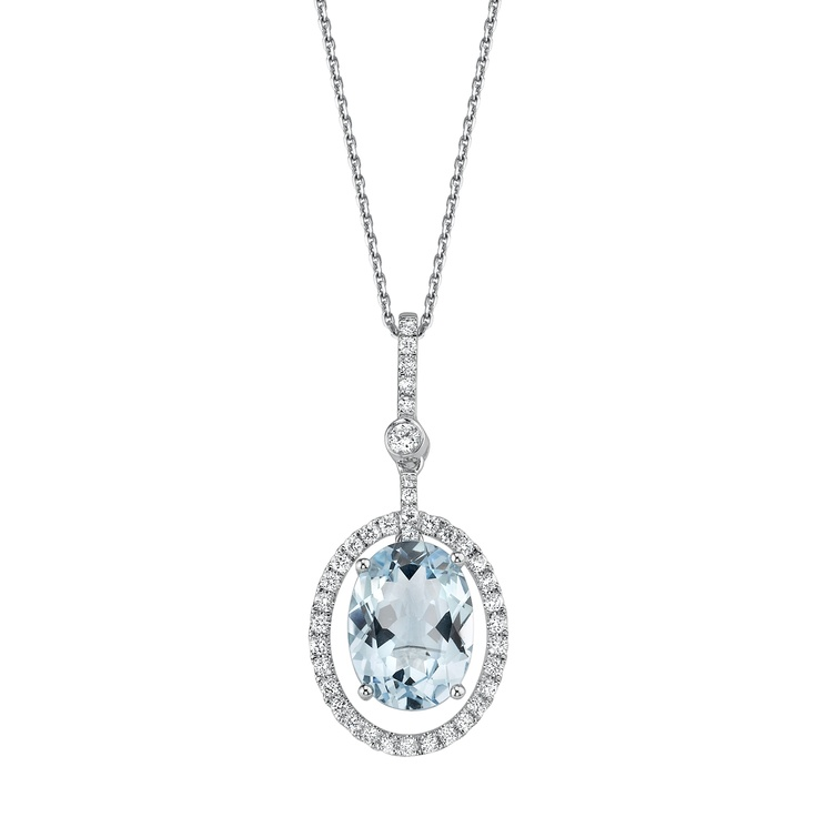 Angara Pear Aquamarine and Diamond Rabbit Ear Pendant in Platinum 81ImZPl
