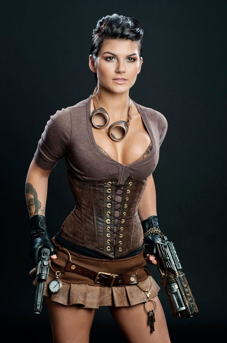Another pinner noted that she looks like a steampunk Lara Croft -Meschantes Steampunk Vegan Leather Waist Cincher Corset via Etsy.