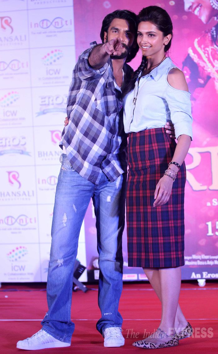 Ranveer Singh looked cool in a checked shirt and denims while Deepika Padukone was chic in a pencil skirt paired with a cutout shirt and ballerinas at a promotional event for their upcoming 'Ram-Leela', held at Affinity mall in Mumbai. #Bollywood #Fashion #Style #Beauty
