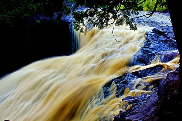 Rainbow Falls in the Porcupine Mountains in Michigan