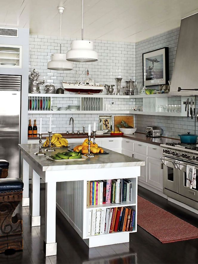 I love the white tile backsplash, and cabinets with the dark countertop and…