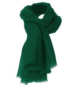 Cashmere Gauze Stole in forest green shade.