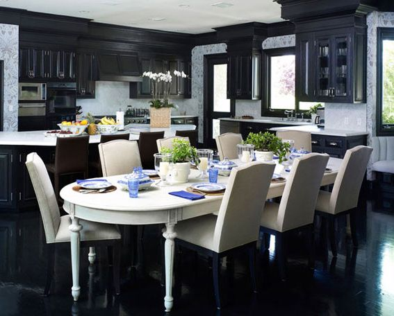 black cabinets in the kitchen by Kirsten Kelli