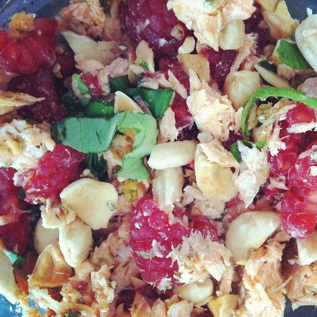 Dilly Salmon and Raspberry Salad Dille, Zalm en Frambozen salade