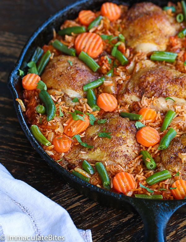 Jollof Rice and Chicken -An easy yet tasty one pot meal that is enjoyed in West African Countries (Nigeria, Cameroon, Ghana, Liberia and Sierra leone ) .    This recipe was inspired by my mini chef's desire for chicken thighs and rice - No kidding.We were in the supermarket and he wanted me ...