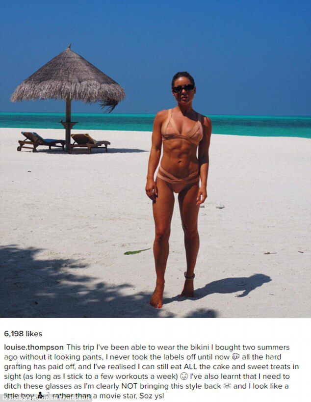MIC's Louise Thompson poses in a nude bikini in more Maldives snaps #dailymail
