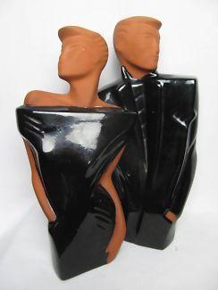 $50 VINTAGE Ceramic STATUES Black VOGUE FASHION Man & Woman 20x38cm Text 0411691171 or email info@bitspencer.com