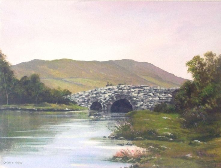 quiet-man-bridge-2.jpg - Painting,  2x24x18 in ©2014 by Cathal O Malley -                                                          Realism, Canvas, Landscape