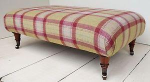 New-Large-Footstool-100-Wool-Moon-Tartan-Choose-from-21-fabrics-Legs-amp-Sizes