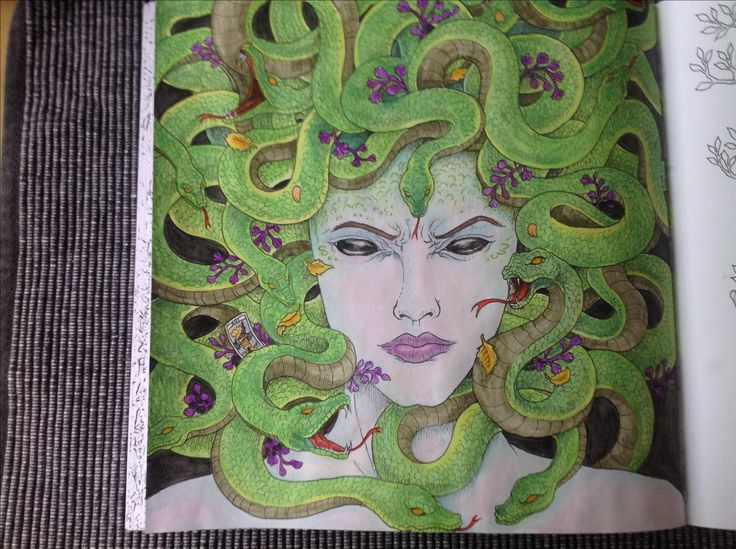 Mytomorphia, Kerby Rosanes, my first in this book. Colour by me (Seija) derwent inktense, caran dache watercolour