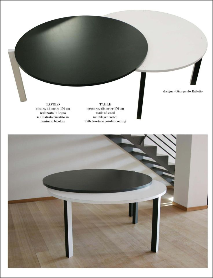 Table Infinity Table measures: diameter 150 cm  made of wood multilayer coated with two-tone powder-coating.