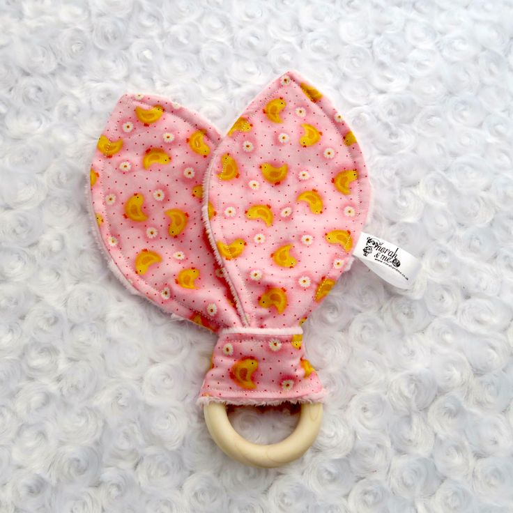 spring chicks bunny ear teether, easter present, teething ring