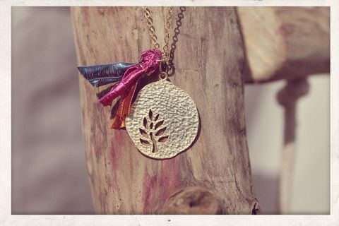 Tassel necklace made with love from 16k gold plated chain, 14k gold plated Tree of Life charm and silky satin ribbons!