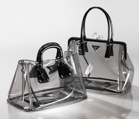 Prada clear bags, cool idea, but I don't really want random folks sketchin on my stuff.