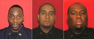 (Left to right) Divine Rahming, Steven Dominguez and Deleon Gifth are the Rikers Island correction officers charged with drug smuggling.