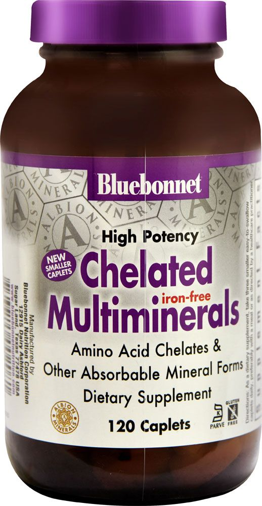 Bluebonnet Nutrition Albion® High Potency Chelated Multiminerals Iron Free -- 120 Caplets - Vitacost