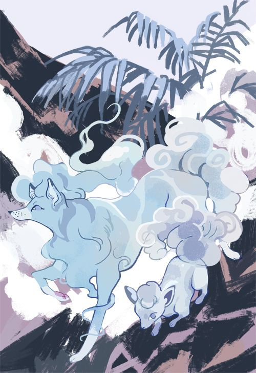 Sketch of vupix and ninetales.. I have a theory their alola forms exist mostly…