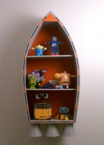 Repurposed rocket shelf.