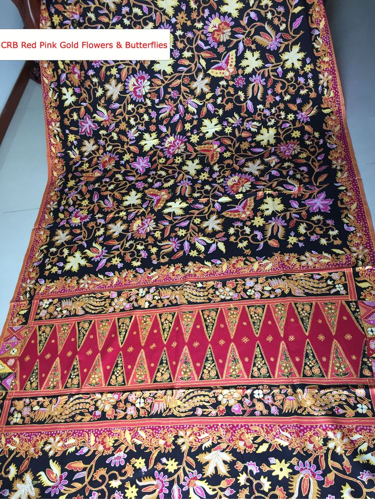 CRB Red pink gold flowers & butterflies