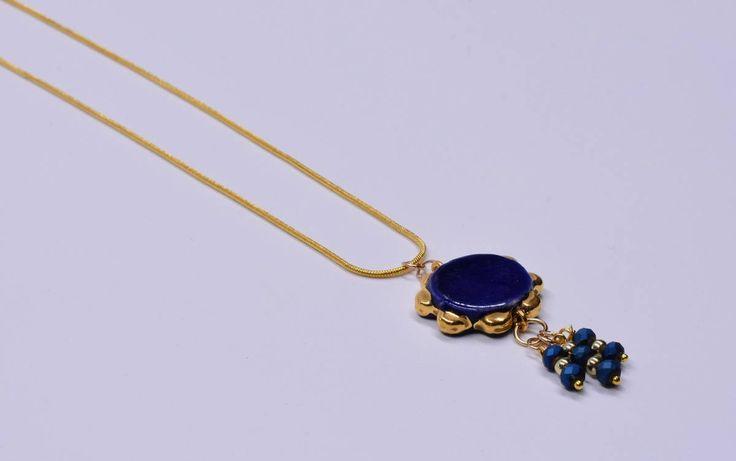 Collana Tamburello blu oro argento agata