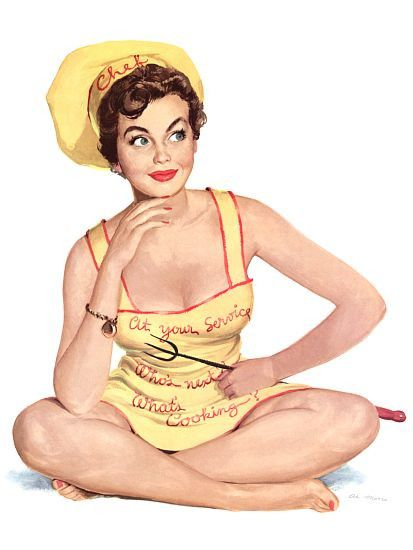 Pinup Girl Brunette Wearing A Chefs Hat And Poster