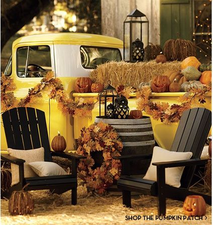 uber cute halloween and thanksgiving yard decoration idea where is my vintage yellow truck yard creating time with halloween decorating ideas creative