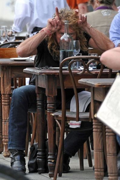 Robert Plant (this one's in color and in focus) having lunch with Katrina Chester in Austin.