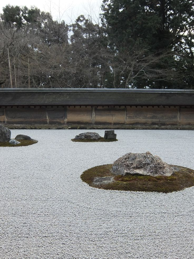 Zen garden in Ryōan-ji (龍安寺,The Temple of the Dragon at Peace) in winter Kyoto,Japan 2014