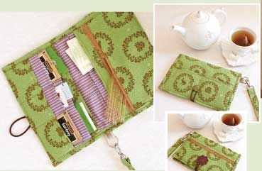 tea wallet tutorial, but could easily be a regular wallet. The tea slots would hold cards on end.