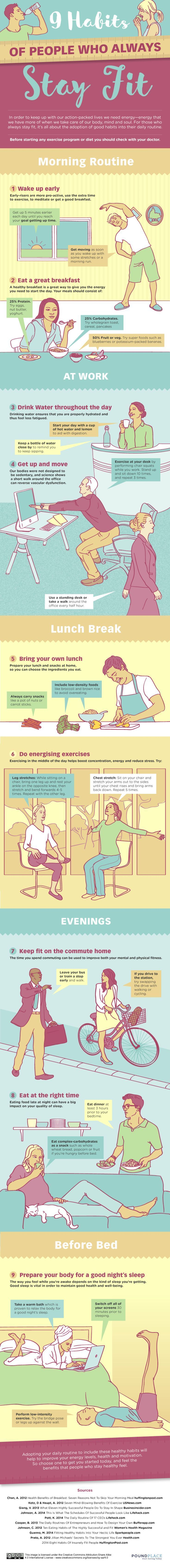 Exercise and eating healthy are key to a healthier, fitter lifestyle, but there's something to be said for small changes as well—ones that can make a big difference if you make them into regular habits. This graphic is packed with them, starting from when you wake up in the morning to how you wind down for bed at night.